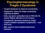 psychopharmacology in fragile x syndrome