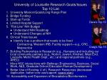 university of louisville research goals issues top 10 list