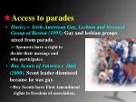 access to parades