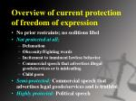 overview of current protection of freedom of expression