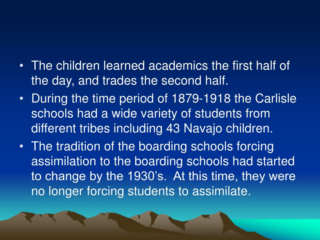 The children learned academics the first half of the day, and trades the second half.