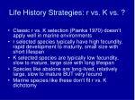 life history strategies r vs k vs