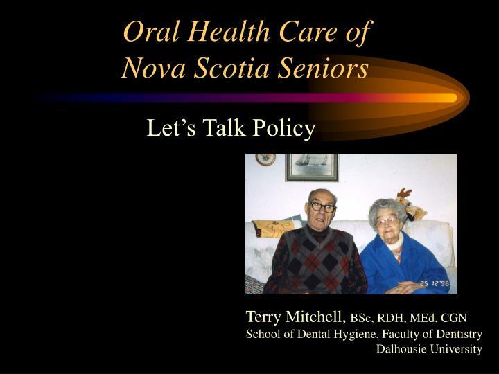 oral health care of nova scotia seniors n.