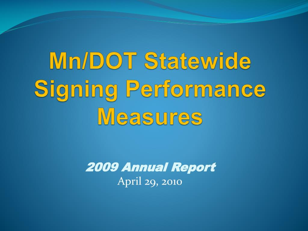 mn dot statewide signing performance measures l.