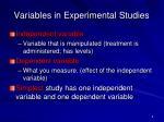 variables in experimental studies
