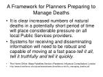 a framework for planners preparing to manage deaths
