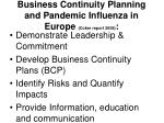 business continuity planning and pandemic influenza in europe coker report 2008