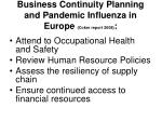 business continuity planning and pandemic influenza in europe coker report 200850