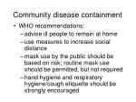 community disease containment