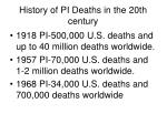 history of pi deaths in the 20th century