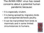 the avian h5n1 virus has raised concerns about a potential human pandemic because