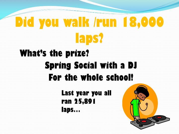 Did you walk /run 18,000 laps?