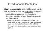 fixed income portfolios