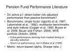 pension fund performance literature
