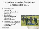 hazardous materials component is responsible for