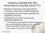 lessons learned from the partnership of local 825 and nj tf1