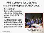 ppe concerns for us rs at structural collapses rand 2006