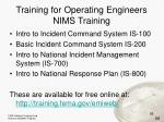 training for operating engineers nims training