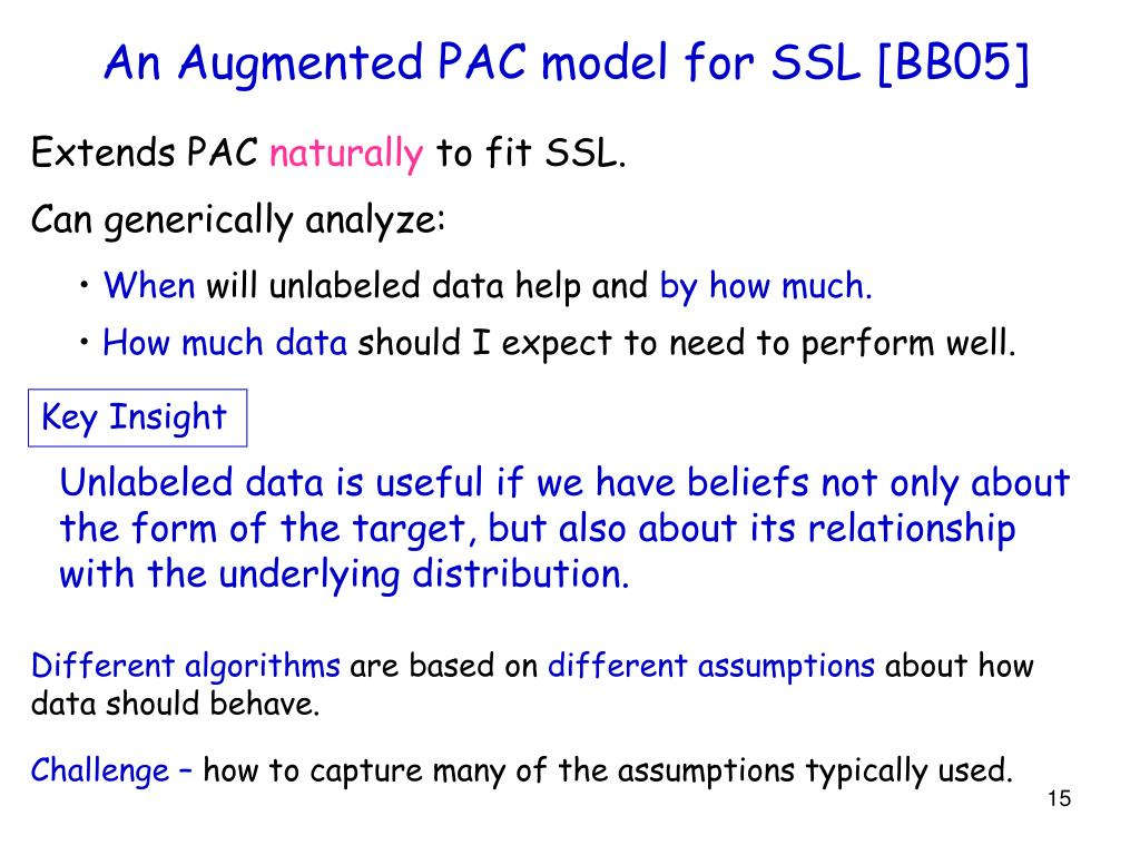 An Augmented PAC model for SSL [BB05]