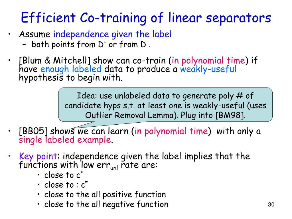 Efficient Co-training of linear separators