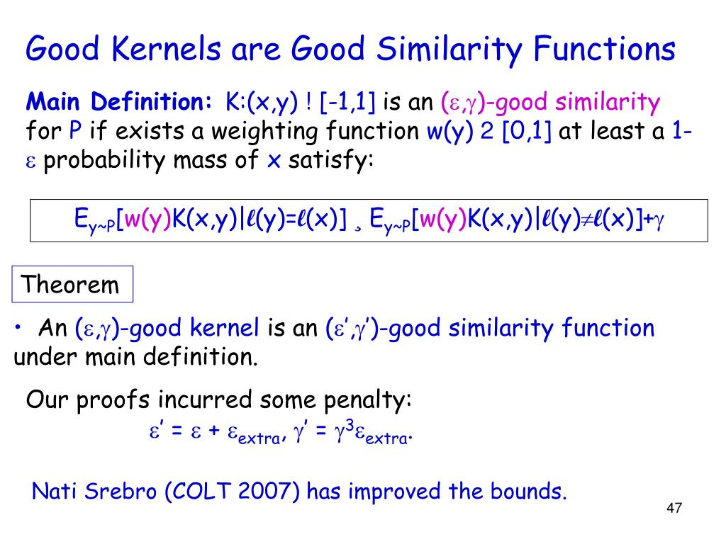 Good Kernels are Good Similarity Functions