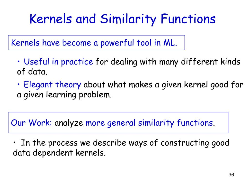 Kernels and Similarity Functions