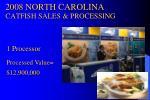 2008 north carolina catfish sales processing