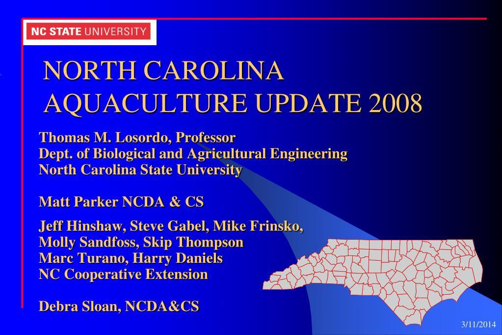 north carolina aquaculture update 2008 l.