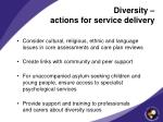 diversity actions for service delivery