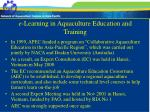 e learning in aquaculture education and training