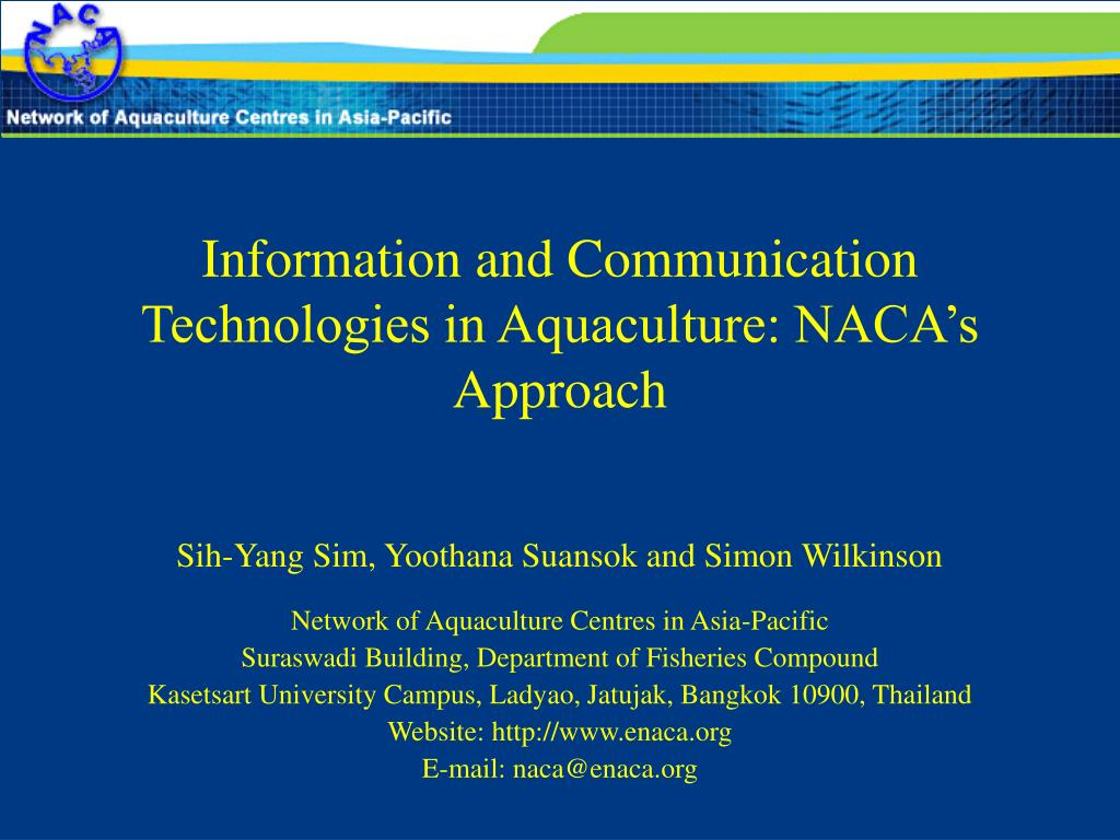 information and communication technologies in aquaculture naca s approach l.