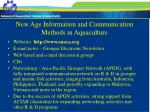 new age information and communication methods in aquaculture