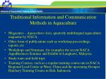 traditional information and communication methods in aquaculture