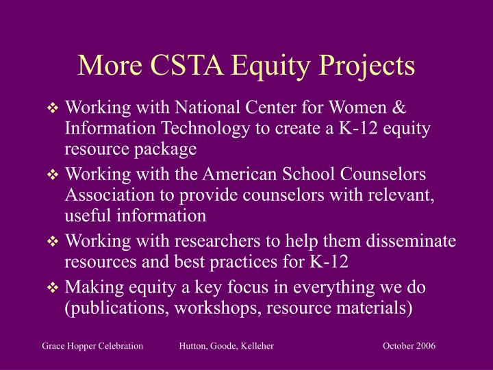More CSTA Equity Projects