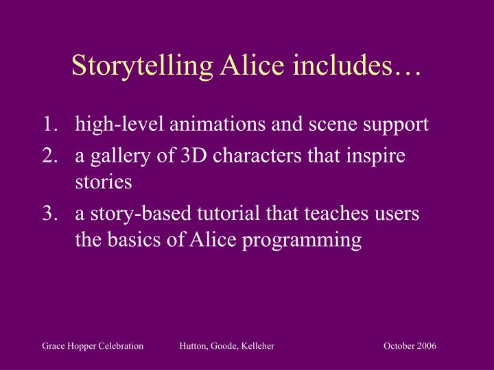 Storytelling Alice includes…