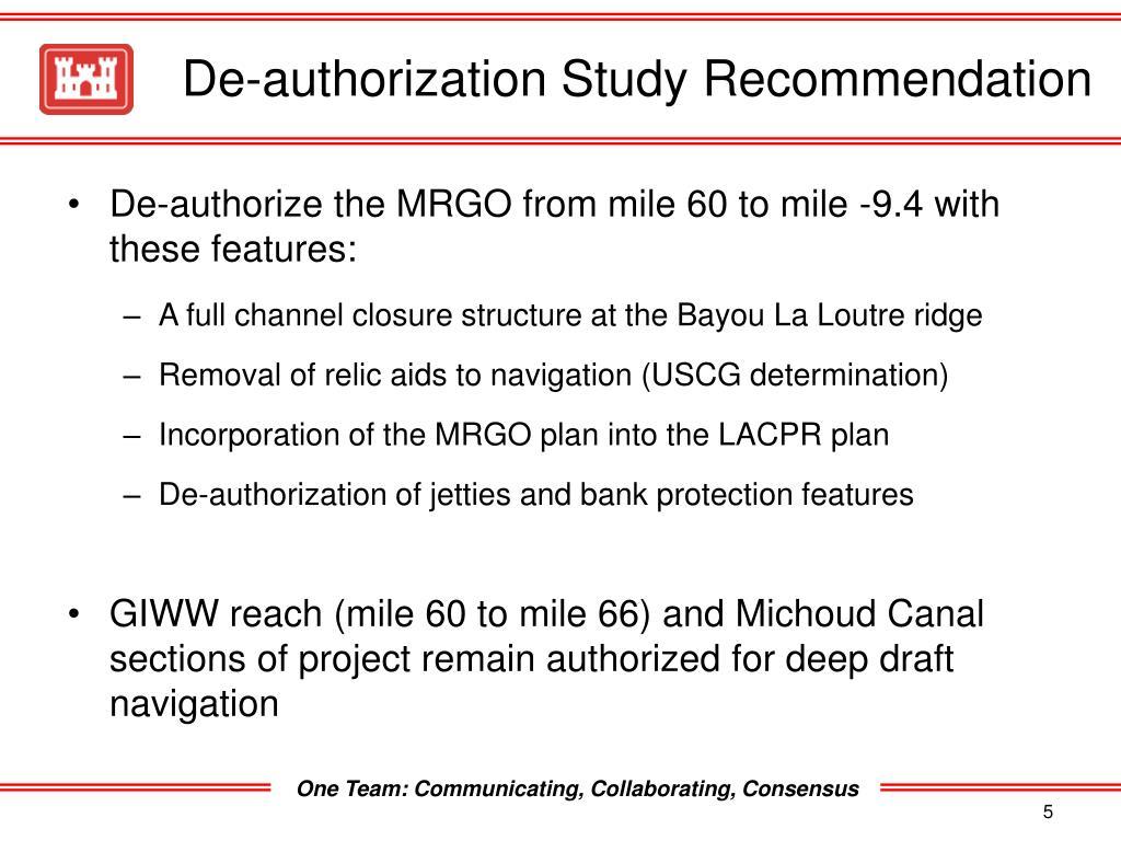De-authorization Study Recommendation