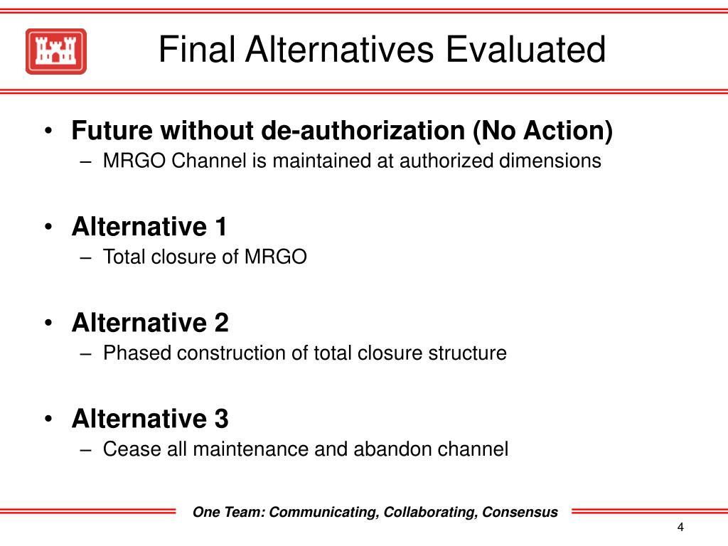 Final Alternatives Evaluated