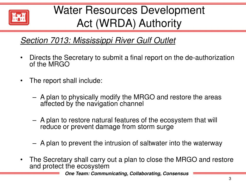 Water Resources Development Act (WRDA) Authority