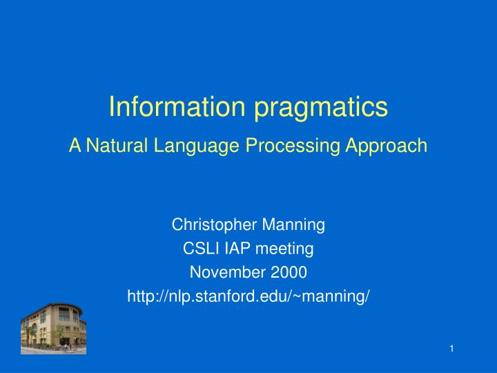 information pragmatics a natural language processing approach n.