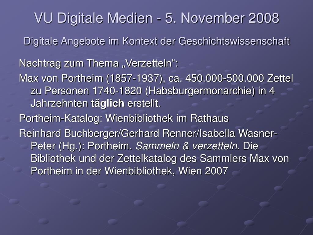 vu digitale medien 5 november 2008 digitale angebote im kontext der geschichtswissenschaft l.