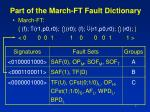 part of the march ft fault dictionary