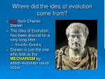 where did the idea of evolution come from