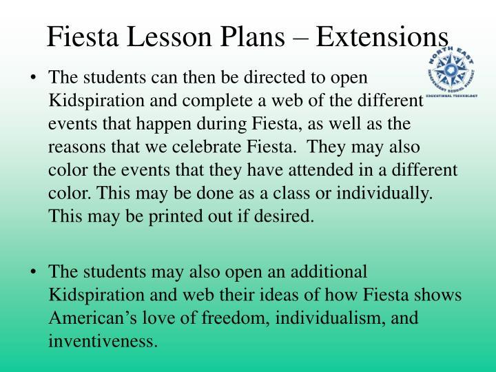 Fiesta lesson plans extensions