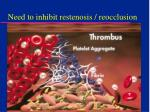 need to inhibit restenosis reocclusion