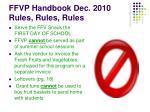 ffvp handbook dec 2010 rules rules rules23