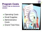 program costs costs 3 tab on electronic version