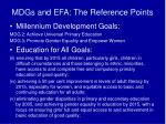 mdgs and efa the reference points