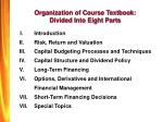 organization of course textbook divided into eight parts