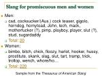 slang for promiscuous men and women