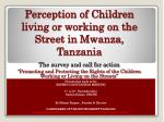 perception of children living or working on the street in mwanza tanzania